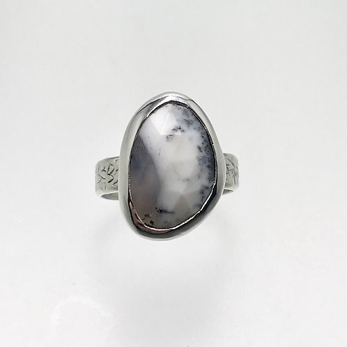Sterling and  Faceted Dendritic Agate Ring