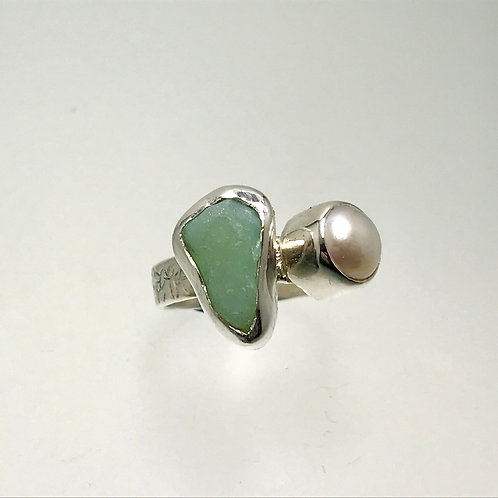 Sterling Ring with Jadeite Sea Glass and Freshwater Pearl