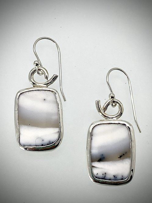 Sterling Dendritic Opal Earrings