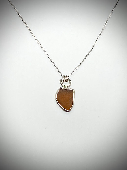 Sterling Piece of Maine Brown Sea glass Necklace