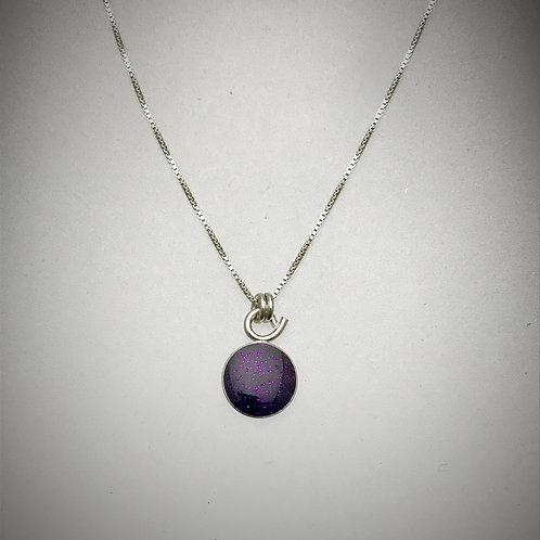 Tiny Sterling Dark Purple Resin Necklace