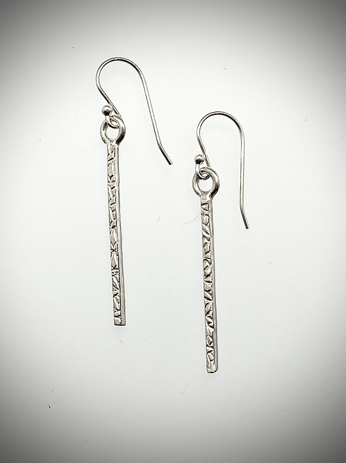 Sterling Small Textured Icicle Earrings