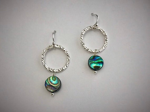 Sterling Medium Circle Earrings with Abalone