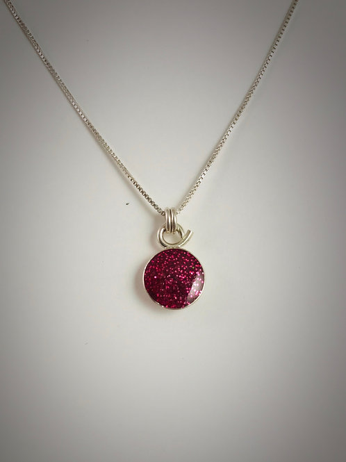 Tiny Sterling Raspberry Resin Necklace