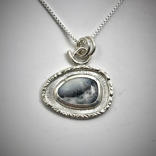Sterling and Dendritic Agate Frame Necklace