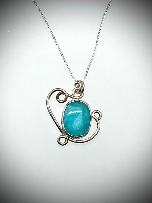 Sterling Amazonite Swirl Necklace