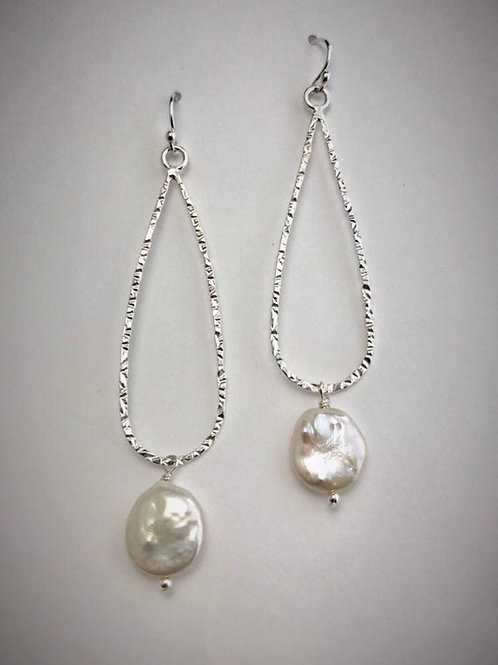 Sterling Large Teardrop Earrings  with Freshwater Coin Pearls