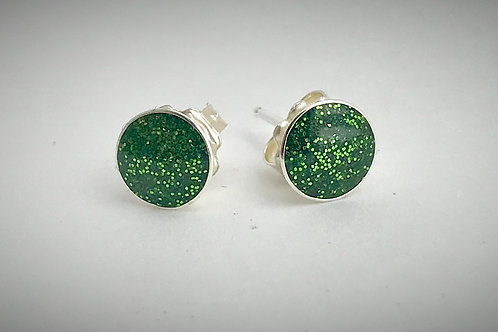 Sterling Large Pesto Green Resin Post Earrings