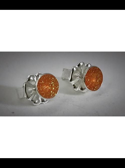 Small Sterling Orange  Resin Post Earrings