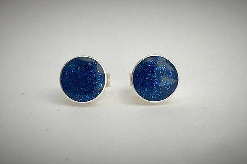 Sterling Large Navy Blue Resin Post Earrings