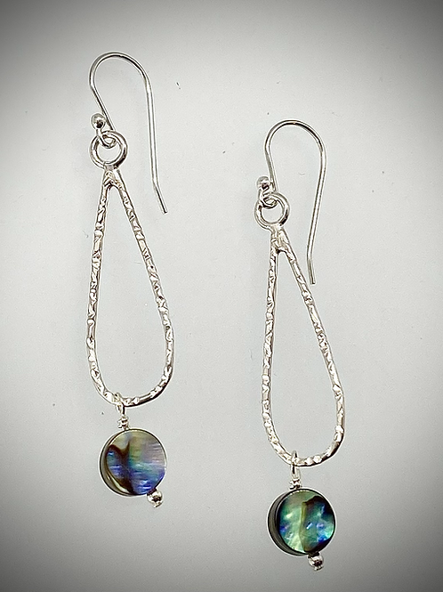 Sterling Small Teardrop Earrings with Abalone