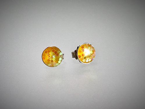 Sterling Large Metal Sunshine Yellow Flake Resin Post Earrings