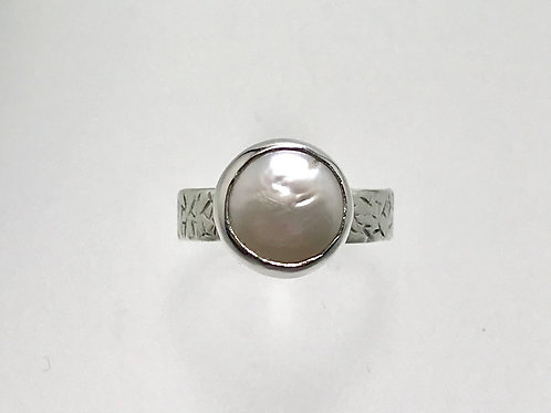 Sterling Freshwater Coin Pearl Ring