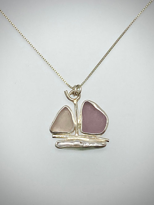Sterling Piece of Maine Sea glass and Freshwater Pearl Necklace