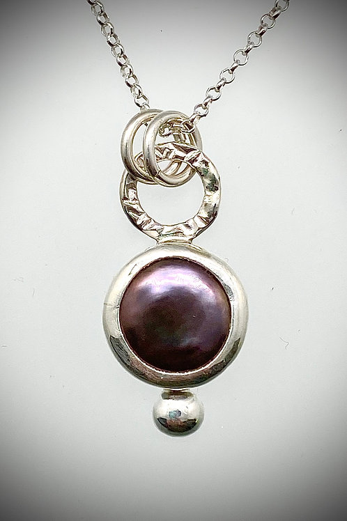 Sterling Bauble Necklace with Purple Pearl