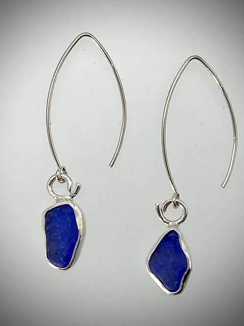 Sterling Earrings with Blue Maine Sea Glass