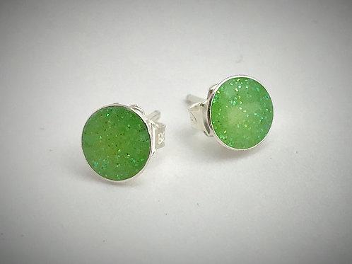 Large Sterling Lime Green Resin Post Earrings