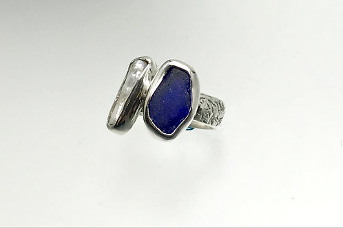 Sterling Ring with Cobalt Blue Sea Glass and Freshwater Pearl
