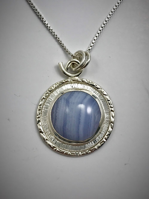 Sterling Blue Lace Agate Frame Necklace