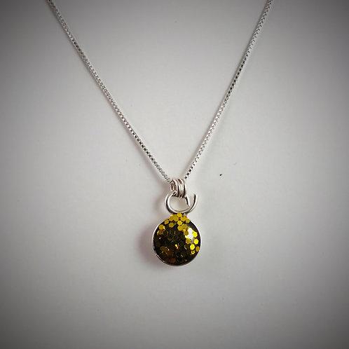 Sterling big metal Gold Flake resin necklace
