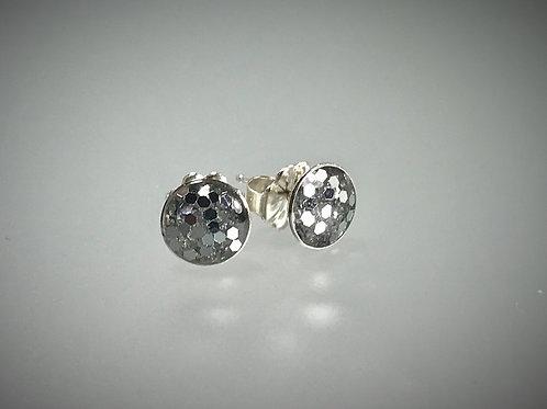 Sterling Large Silver Metal Flake Resin Post Earrings