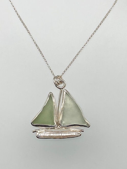 Sterling Piece of Maine Sailboat Sea Glass and Freshwater Pearl Necklace