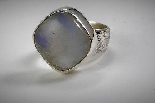 Sterling Rainbow Moonstone Ring
