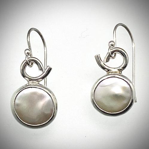 Sterling Coin Pearl Earrings