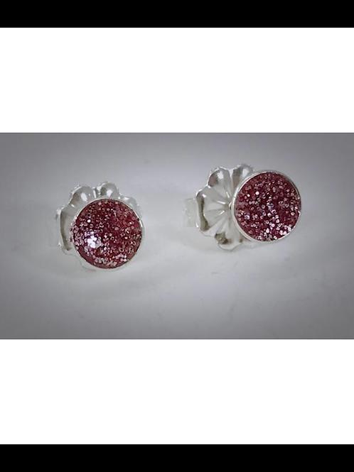 Small Sterling Kunzite Pink Resin Post Earrings