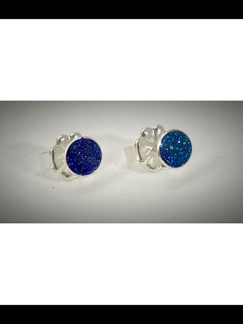 Small Sterling Navy blue Resin Post Earrings