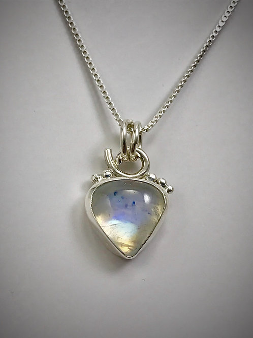 Sterling and Rainbow Moonstone Bauble Necklace