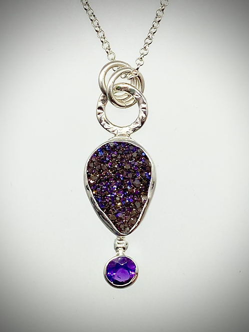 Sterling Purple Druzy and Faceted Amethyst Bauble Necklace