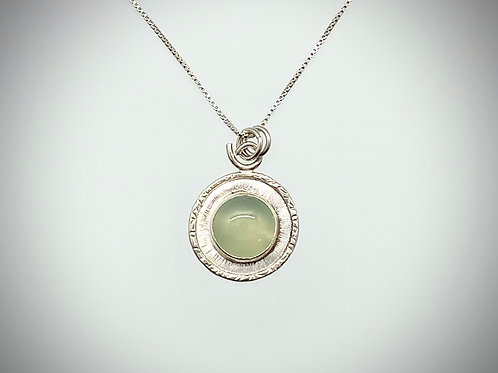 Sterling and Sea Foam Green Chalcedony Frame Necklace