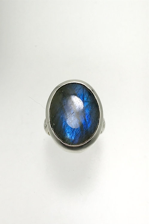 Sterling Oval Labradorite Ring