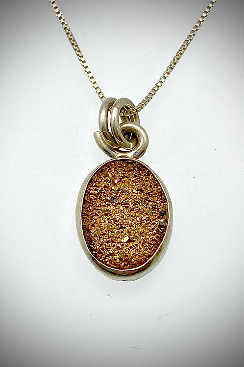 Sterling and Gold Druzy Oval Necklace