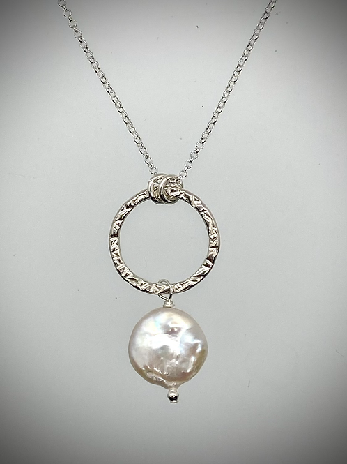 Sterling Medium Circle Necklace with Pearl