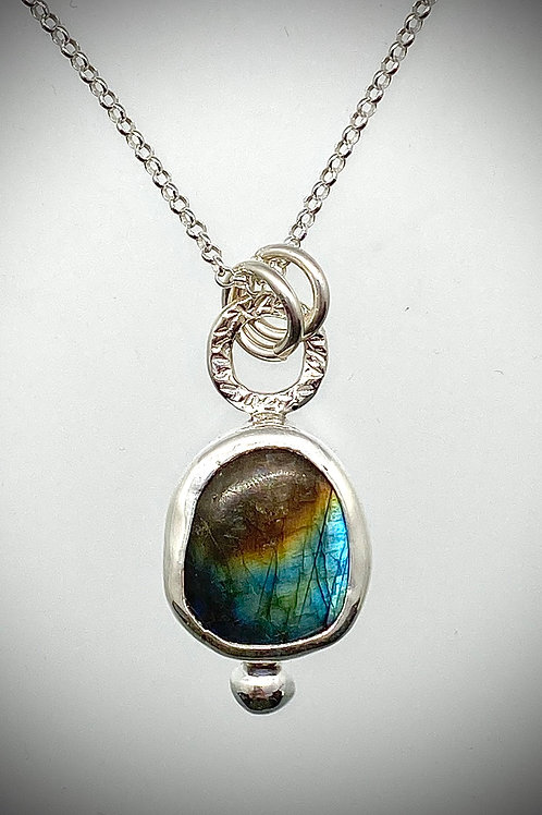 Sterling Bauble Necklace with Labradorite