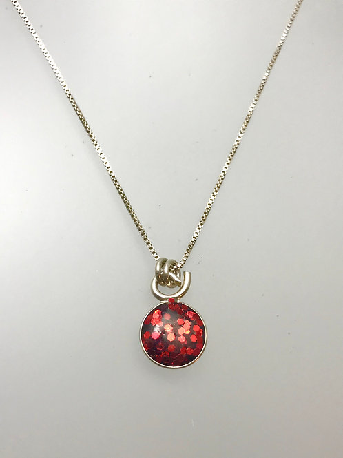 Sterling Large Cherry Resin Necklace