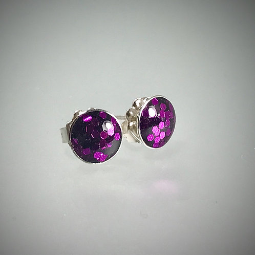 Sterling Large Metal Flake Grape Purple Resin Earrings