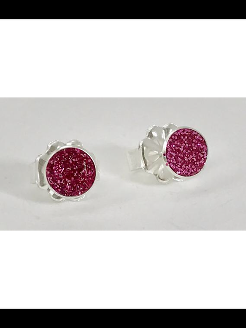 Small Raspberry sterling post earrings
