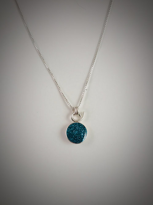 Tiny Sterling Teal Resin Necklace