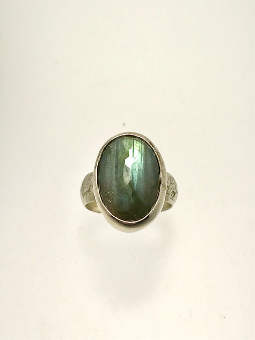 Sterling and Faceted Labradorite Ring