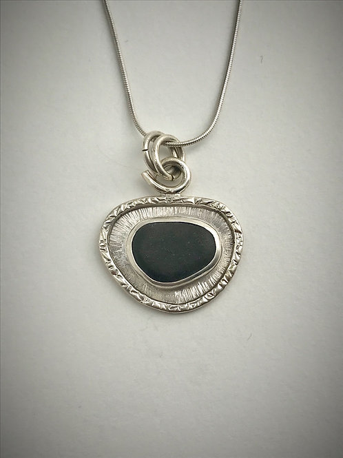 Sterling Piece of Maine Beach Stone Frame Necklace