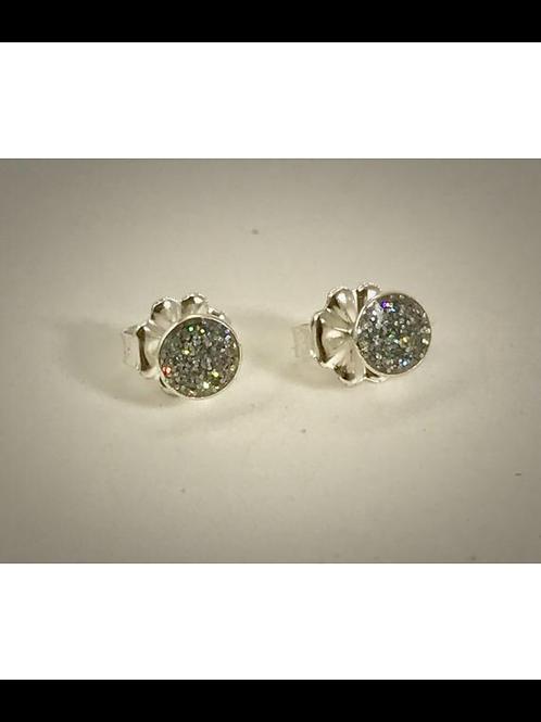Sterling Small Silver Resin Post Earrings