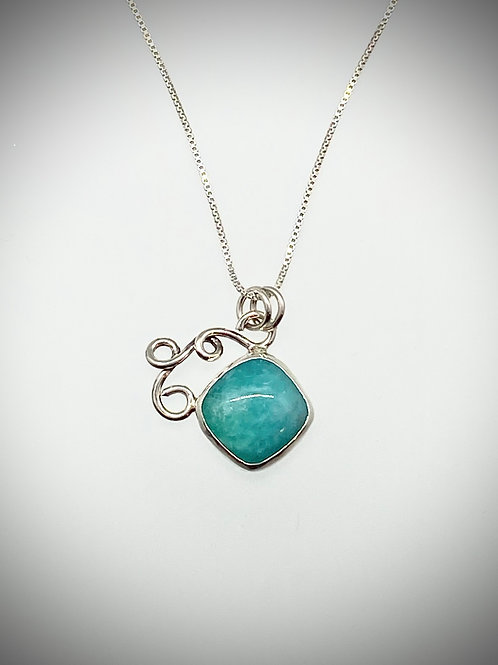 Sterling and Amazonite Swirl Necklace