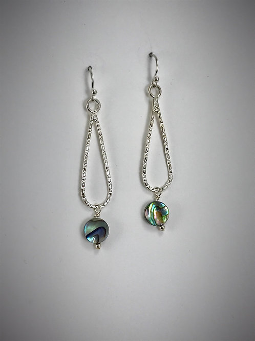 Small sterling Teardrop Earrings with Abalone