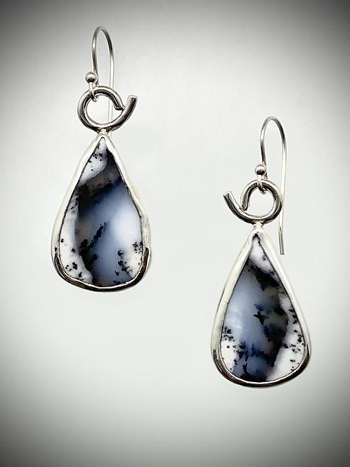 Sterling Dendritic Opal Earrings