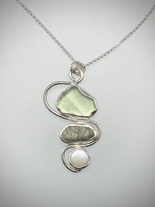 Sterling Piece of Maine Sea Glass, Stone and Pearl Necklace