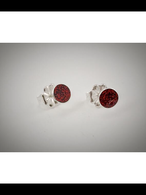 Small Sterling Cherry Red Resin Post Earrings