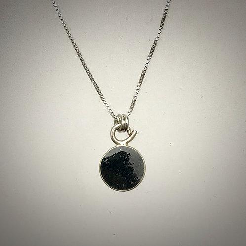 Tiny Sterling Black Resin Necklace